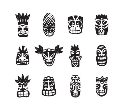 Black and white tiki mask drawing icon set isolated on white background