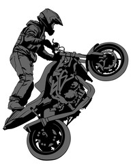 Wall Mural - Athlete performs a stunt on sports motorcycle. Isolated silhouettes on a white background
