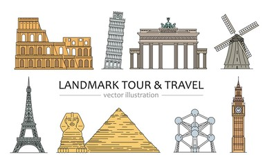 Landmarks, tour and travel icons set of vector cartoon illustrations isolated.