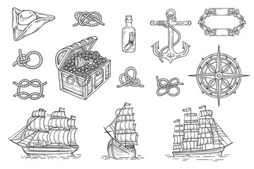 Vintage pirate ship and treasure hunt drawing set - vector illustration