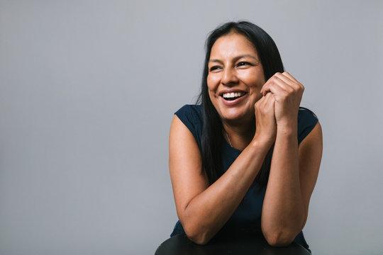 Portrait happy woman laughing