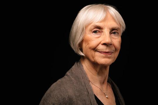 Portrait confident, strong senior woman