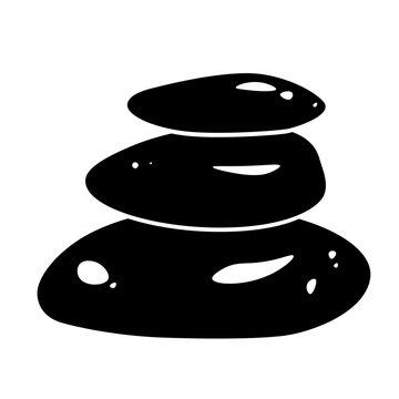 Spa stones glyph icon design. Massage treatment, Wellness vector black silhouette logo. Relax, meditation concept. Natural care pictogram for beauty salon. Zen balance symbol. Stack of three rocks