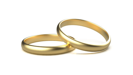 3d rendering of gold ring with white background