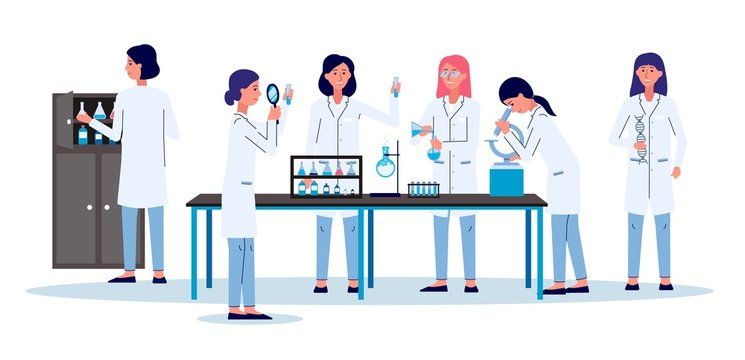Scientists women or laboratory employees - flat vector illustration isolated.