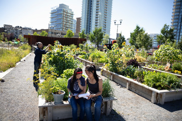 Sisters with notepad planning in sunny, urban community garden