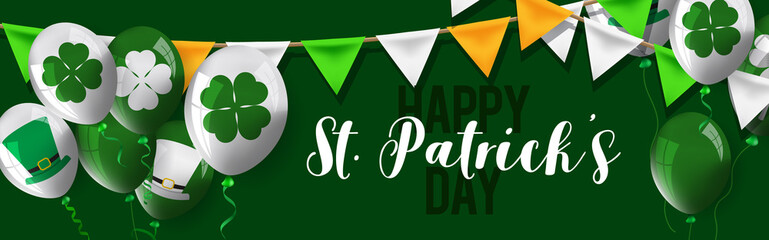 Happy Saint Patrick's Day background, greeting card with green four and tree leaf clovers.