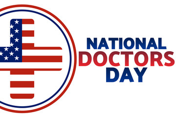 National Doctors Day concept. Template for background, banner, card, poster with text inscription. Vector EPS10 illustration.