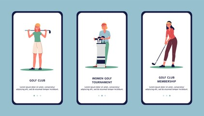 Women golf club or tournament - app design, flat vector illustration isolated.