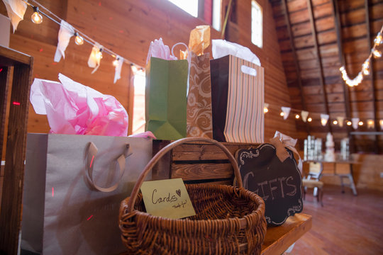Wedding gifts and cards table at wedding reception