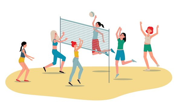 Beach volleyball womens team players flat vector illustration isolated on white.