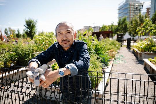 Portrait happy man with gardening gloves in sunny, urban community garden
