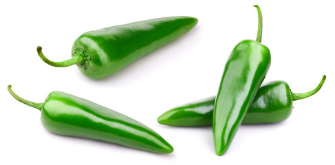 Green pepper collection isolated on white background Clipping Path
