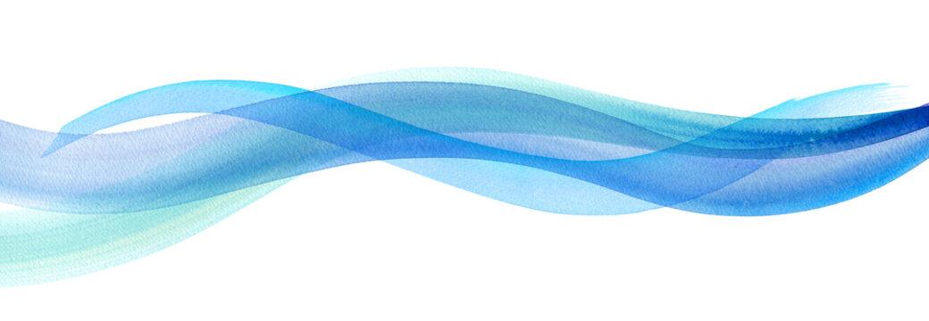 風、水流イメージの水彩イラスト