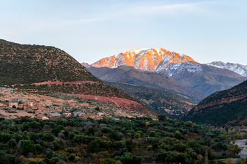 Atlas mountains and Imlil valley at sunset, Morocco