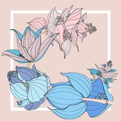 Zelfklevend Fotobehang Abstract bloemen Colorful silk scarf with flowering medinilla.