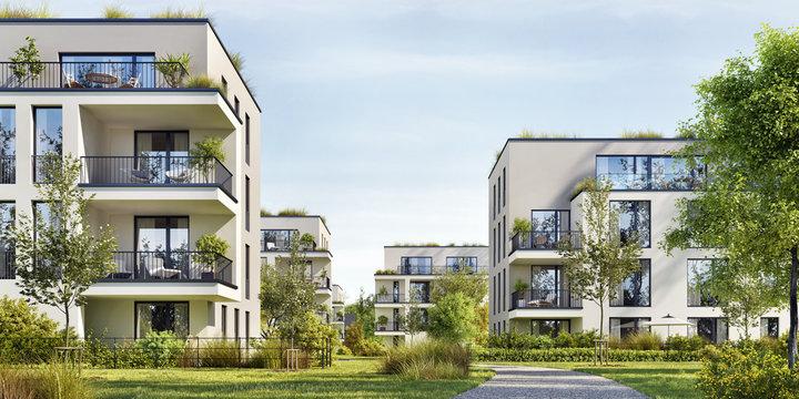 Modern residential buildings. Low-energy houses