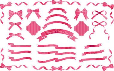 リボン 切り絵風 赤ピンク セット