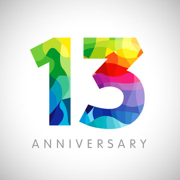 13 th anniversary numbers. 13 years old logotype. Bright congrats. Isolated abstract graphic web design template. Creative 1, 3 3D digits. Up to 13%, -13% percent off discount. Congratulation concept.