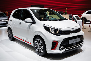 BRUSSELS - JAN 9, 2020: New Kia Picanto carmodel presented at the Brussels Autosalon 2020 Motor Show.