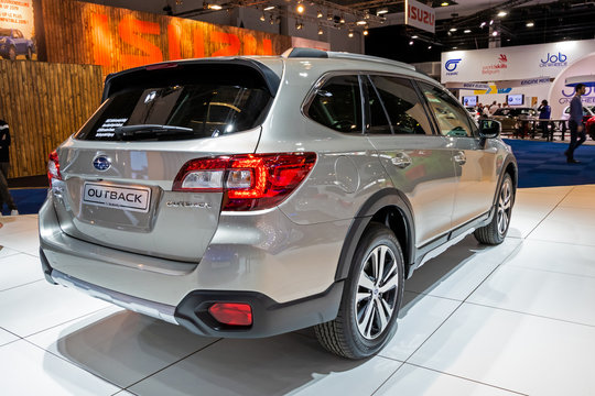 BRUSSELS - JAN 9, 2020: Subaru Outback car presented at the Brussels Autosalon 2020 Motor Show.