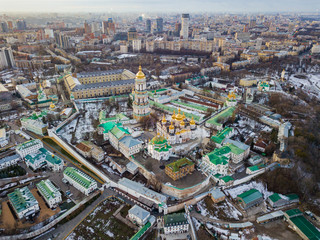 Papiers peints Cracovie Aerial drone view. Kiev Pechersk Lavra in the sunset.