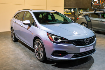 BRUSSELS - JAN 9, 2020: Opel Astra car presented at the Brussels Autosalon 2020 Motor Show.