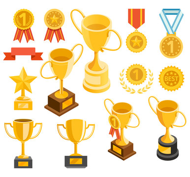 Golden trophy and medal material icons. Vector illustrations.