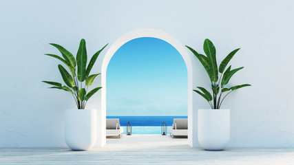Gate to the sea view & Beach living - Santorini island style / 3D rendering Fototapete