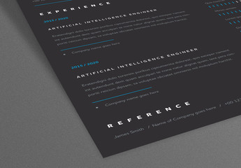 Dark Resume Layout with White Header and Bright Blue Elements