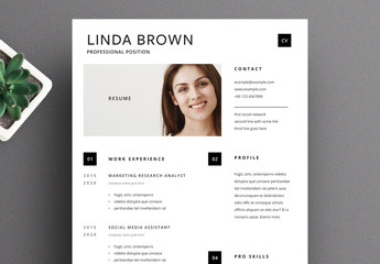 Resume Layout with Black Square Bullet Point  Elements