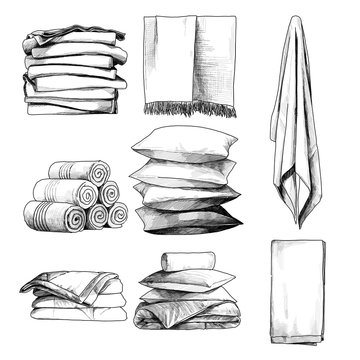 home textile set towels pillows blankets, sketch vector graphics monochrome illustration on white background