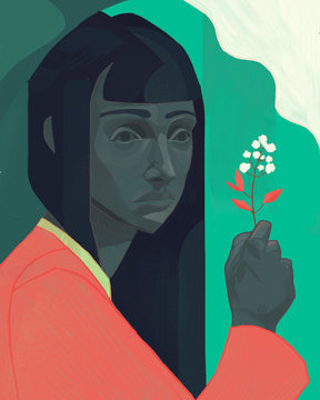 Illustration of woman holding cotton plant