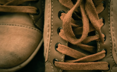 Classic shoelaces with cinematic and vintage styles. Casual sneakers for young people's lifestyle concepts.