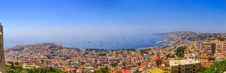 Panoramic view of the city of Naples: skyline and Gulf of Naples, Campania region, Italy.