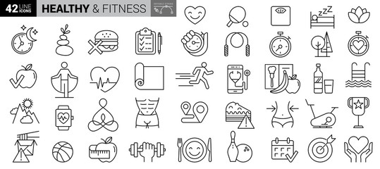 Obraz Sport and fitness - minimal thin line web icon set. Outline icons collection. Simple vector illustration - fototapety do salonu