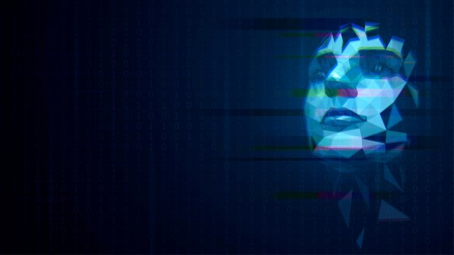 Blue luminous low poly hologram with a human face with glitch effect on a dark background