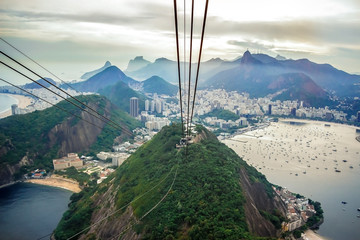 Foto op Aluminium Rio de Janeiro Rio De Janeiro Amazing View, Urca Hill, Sugar Loaf Mountain, Evening Clouds, Sunset. Funicular, Jesus Redeemer Statue, Ocean Coastline And Beautiful Tropical Rainforest Hills In Brazil, Rio.