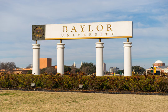Waco, TX / USA - January 12, 2020: Baylor University Sign at the Entrance to Baylor University in Waco, Texas.