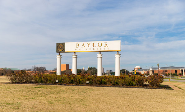 Waco, TX / USA: Baylor University Sign at the Entrance to Baylor University in Waco, Texas.