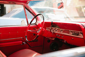 Red leather interior of vintage car