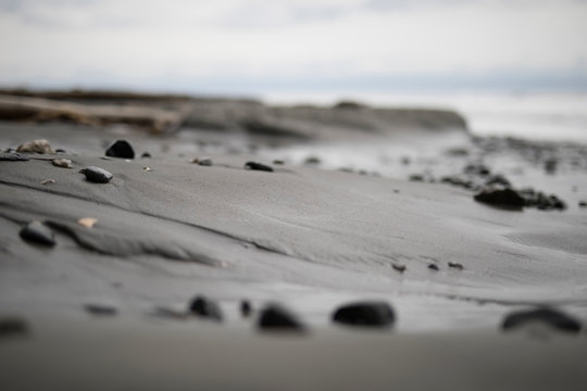 Rugged black sand beach