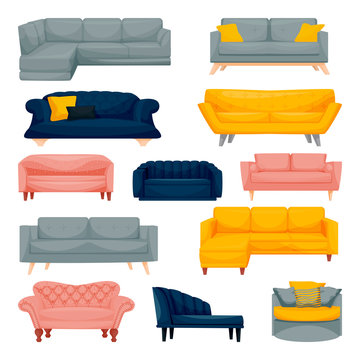 Modern sofa and couch set. Interior furniture design elements. Home and office divan icons. Vector flat illustration