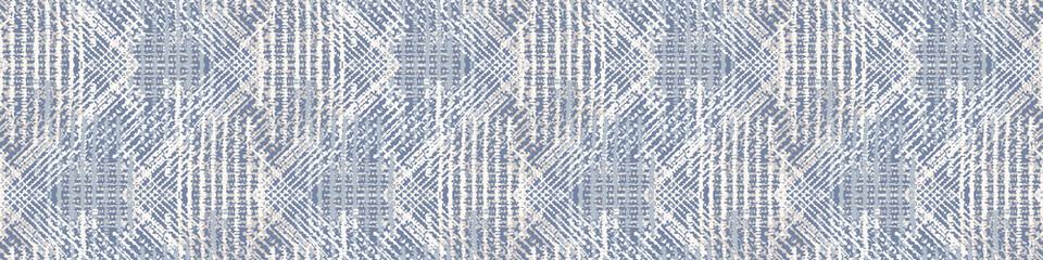 Grey french linen vector texture seamless border pattern. Brush stroke grunge woven abstract banner background. Country farmhouse style textile. Irregular distressed marks ribbon trim in gray blue.