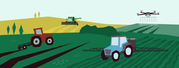 Farm landscape with agri machinery. Irrigation system, tractor, combine harvester and drone on agricultural fields. Vector illustration of smart farming, industry, innovation technology in agriculture Fotomurales