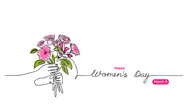 Bouquet's vector sketch. Happy Women's day lettering.  March 8 greeting for web design, background, card. One continuous line drawing of  flower bouquet.