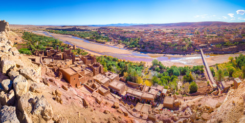 Foto op Plexiglas Zalm Kasbah Ait Ben Haddou in the Atlas Mountains of Morocco. UNESCO World Heritage Site since 1987. Several films have been shot there.