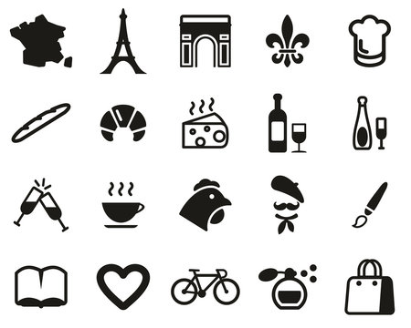 France Country & Culture Icons Black & White Set Big