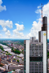 Aerial view of the Tower of Commerzbank in Frankfurt am Main with city background