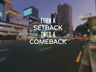 Fototapeten Positive Typography Motivational and inspirational quotes - Turn a setback into a comeback